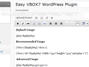 Easy VBOX7 - Usage