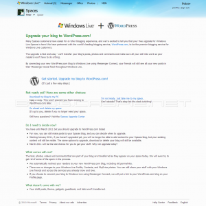 Windows Live and WordPress.com - Choose