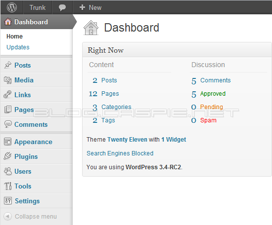 WordPress 3.4 RC 2