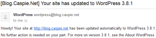 WordPress Update Notification